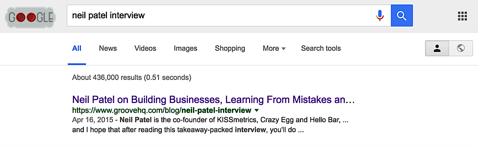 "GrooveHQ shows up first on Google for search term ""neil patel interview"""