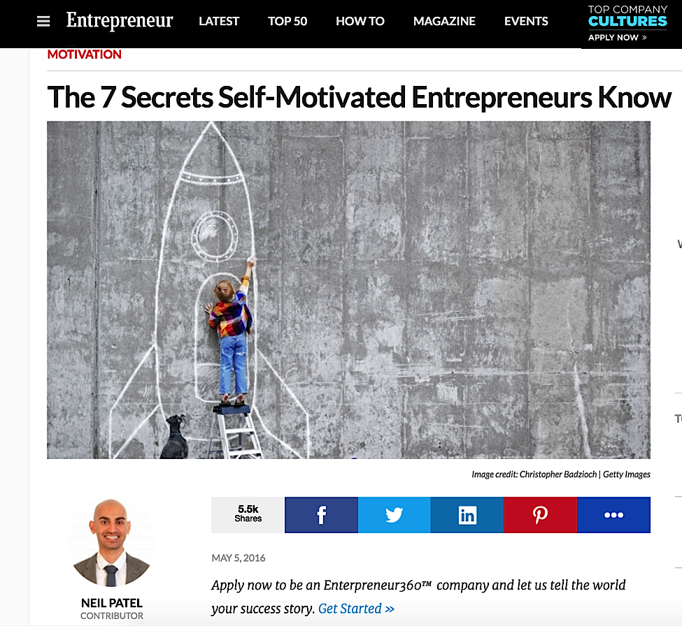Entrepreneur.com - Blog post by Neil Patel