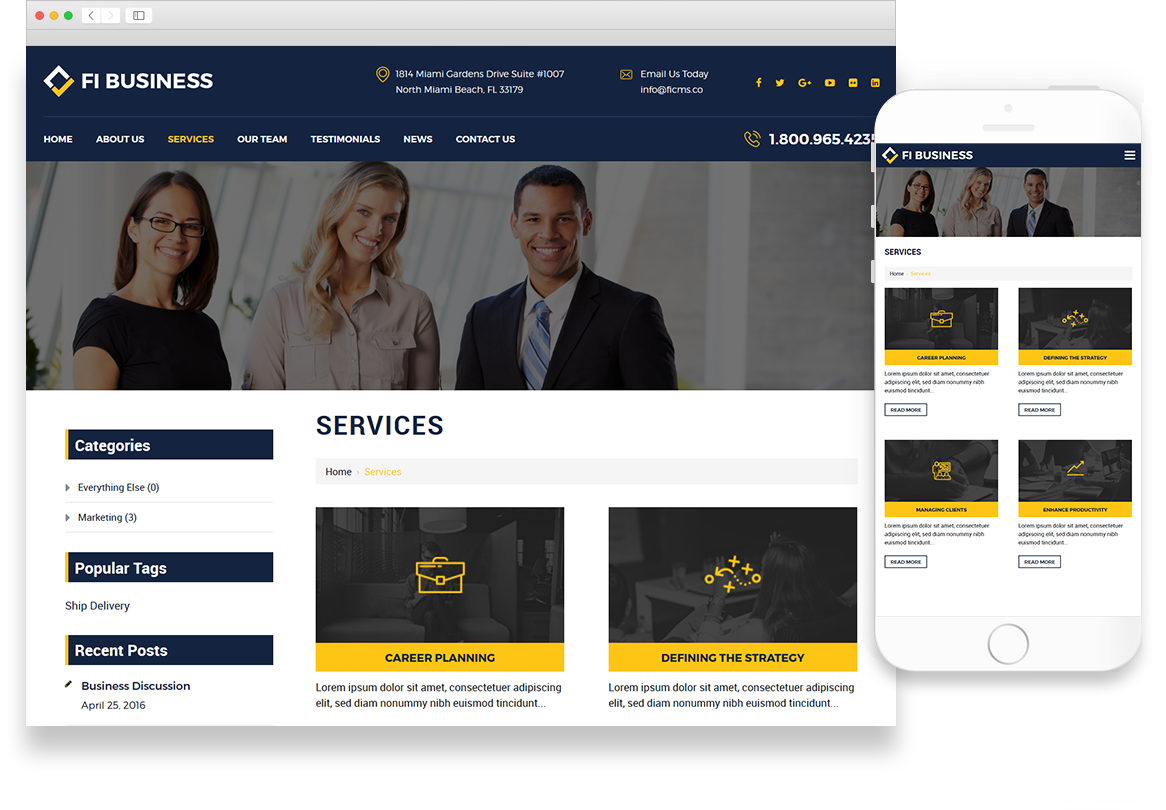 Optuno Business theme