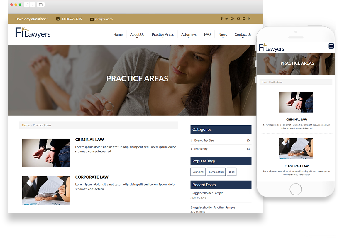 Optuno Attorney Website Design
