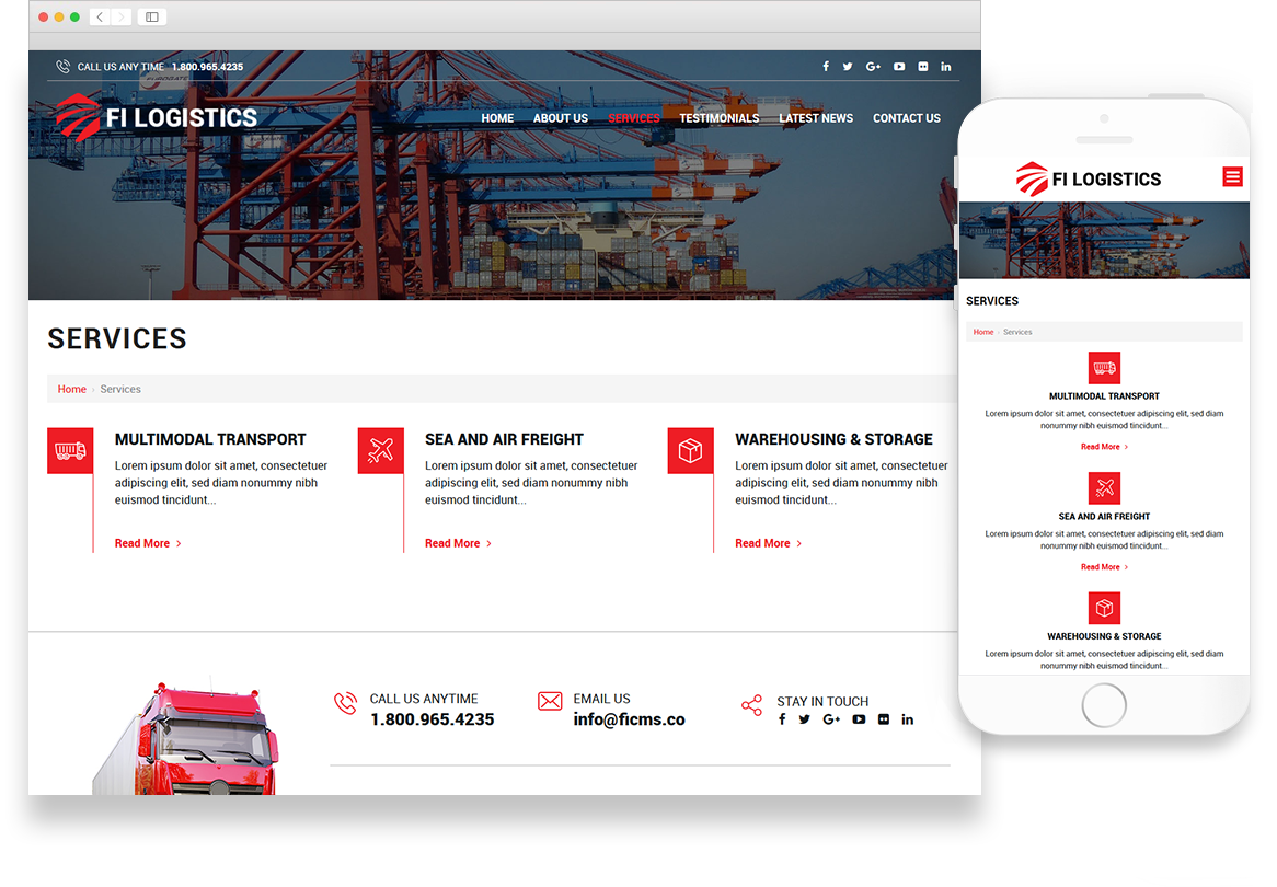 Optuno Logistics Website Design