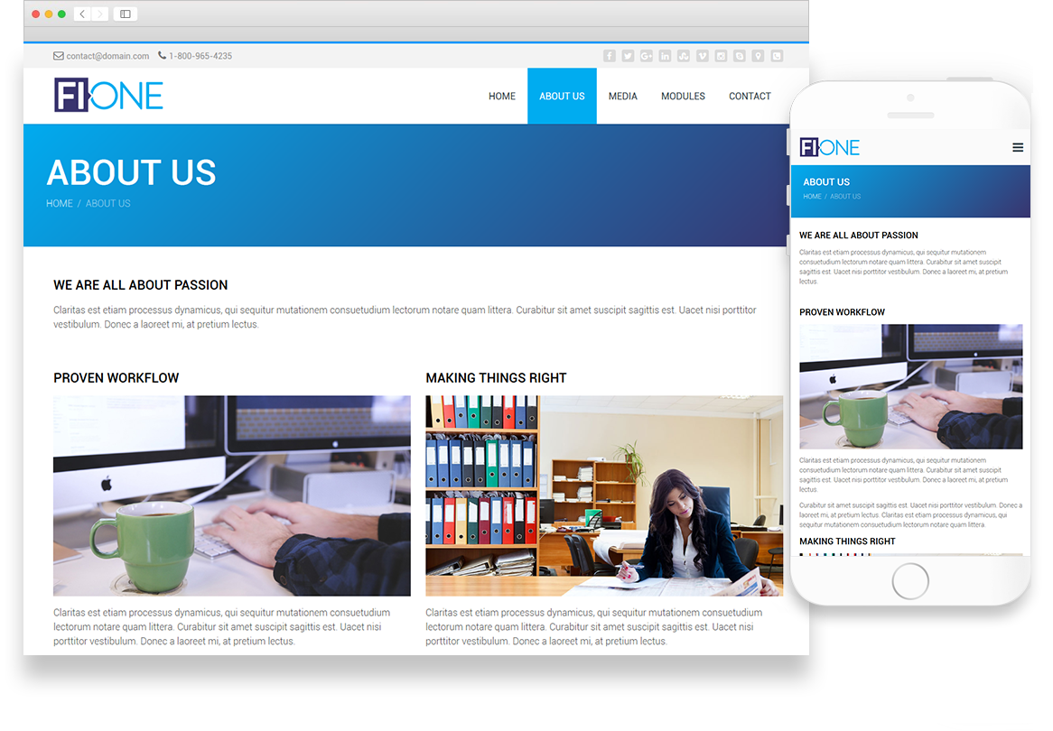 One | Website Theme Library | Website Themes | Optuno