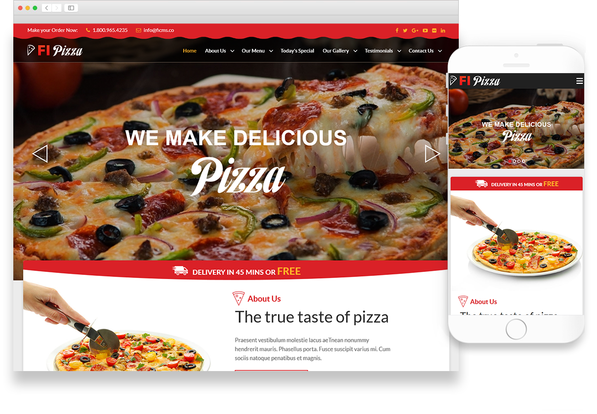 Optuno Pizza Web Design