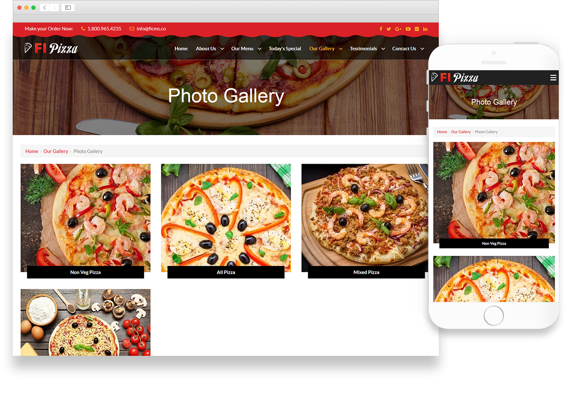 Optuno Pizza Website Design