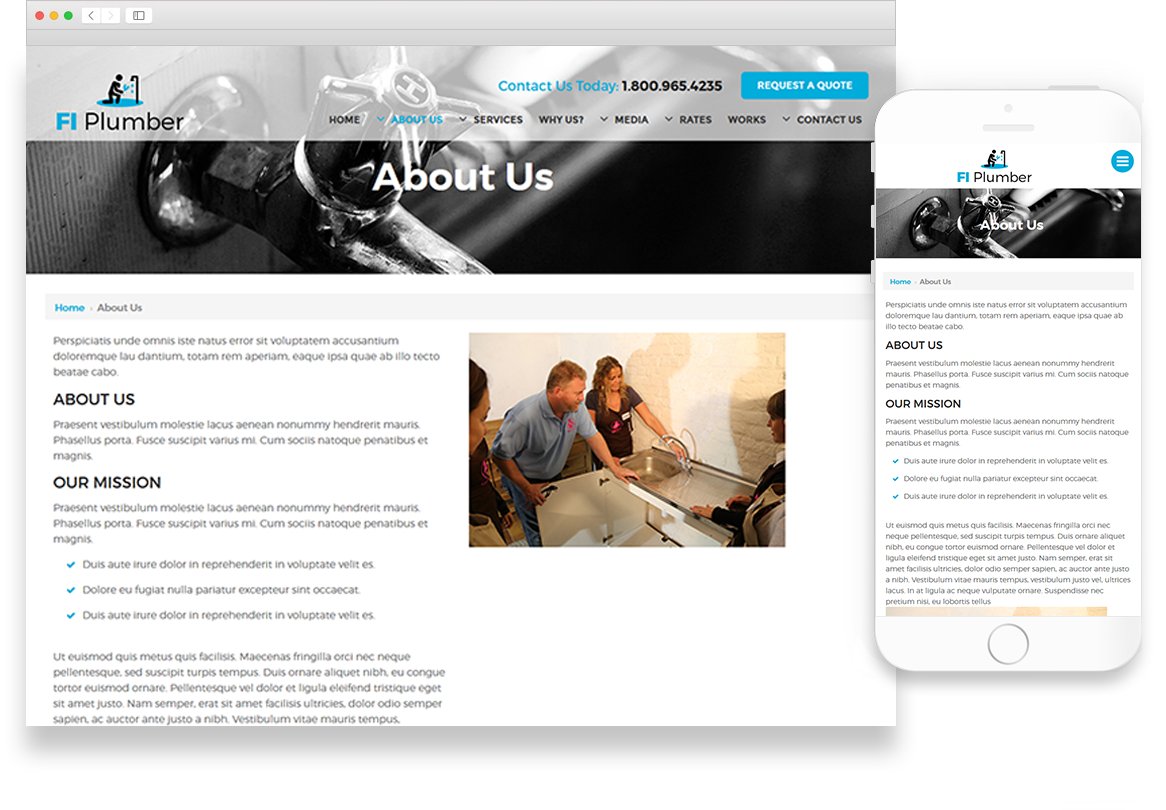 Plumber | Website Theme Library | Website Themes | Optuno