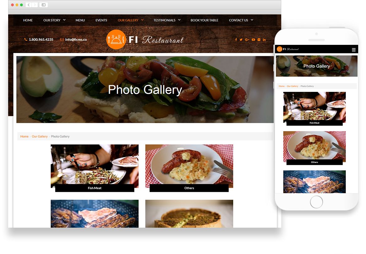 Optuno Restaurant Website Design
