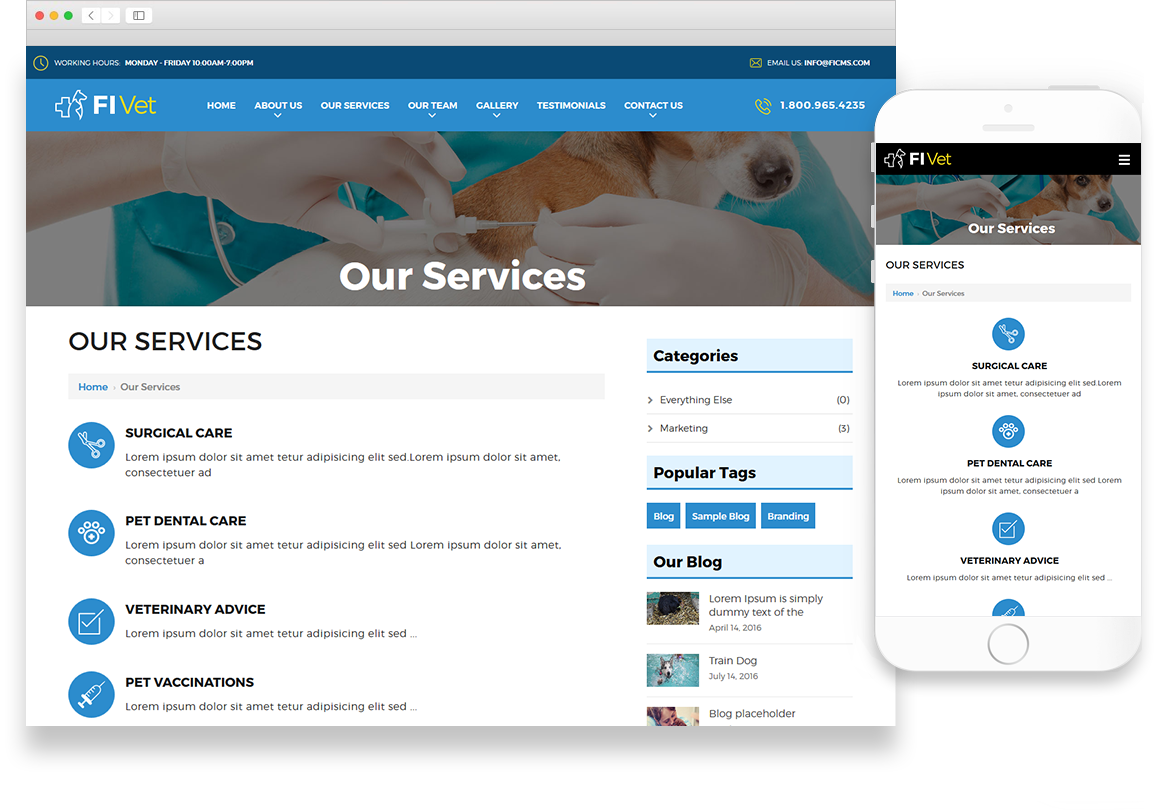 Optuno Vet Website Design