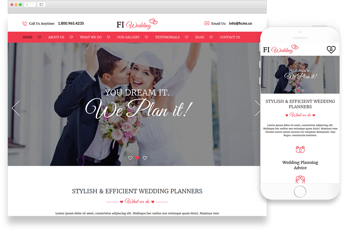 Wedding Planner Website Theme Library Website Themes Optuno