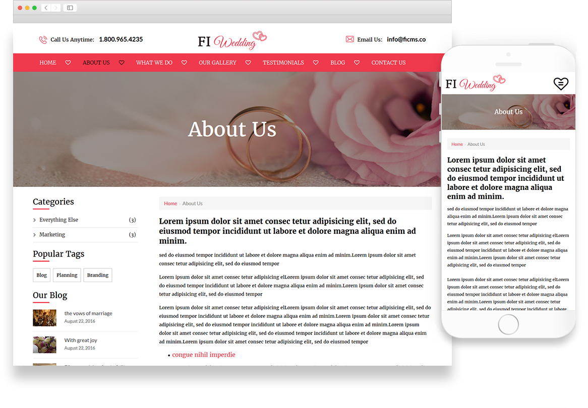 Optuno Wedding Website Design